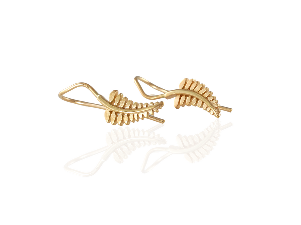 fern drop earrings in gold