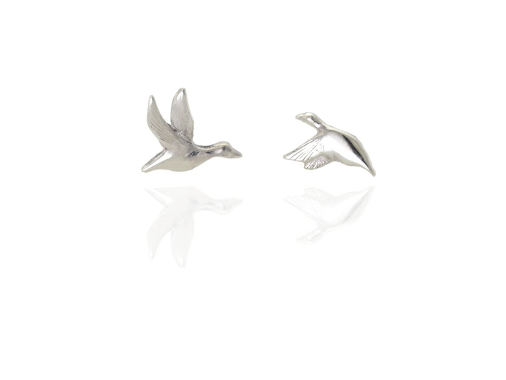 flying duck studs in silver