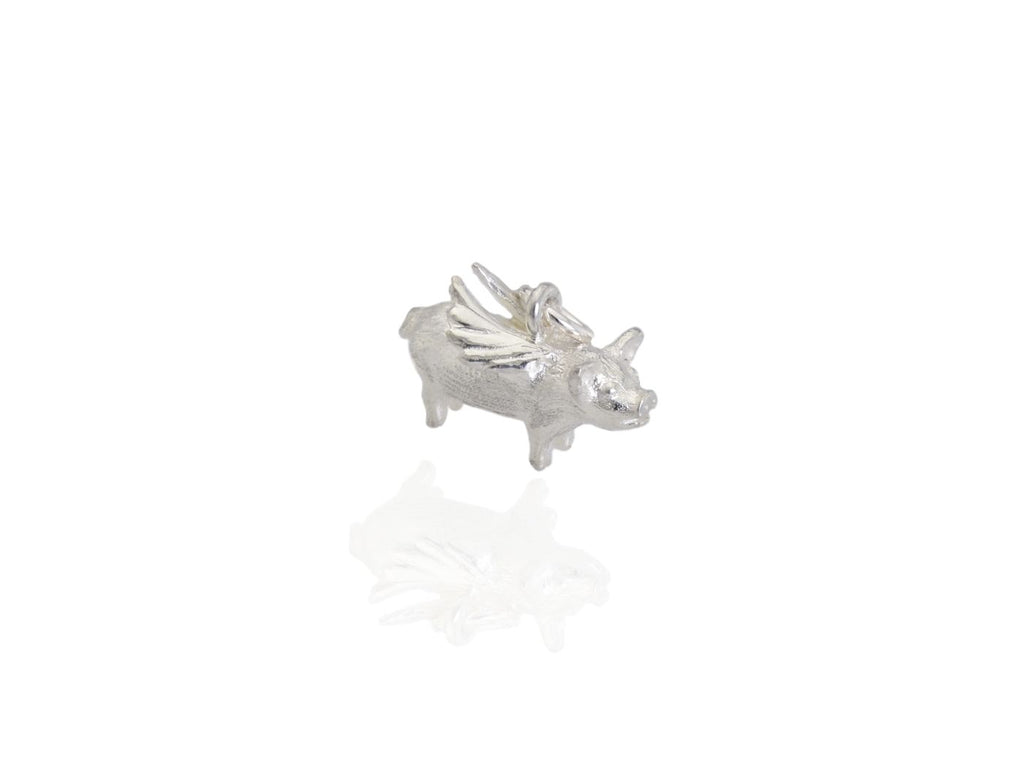 flying pig charm in silver