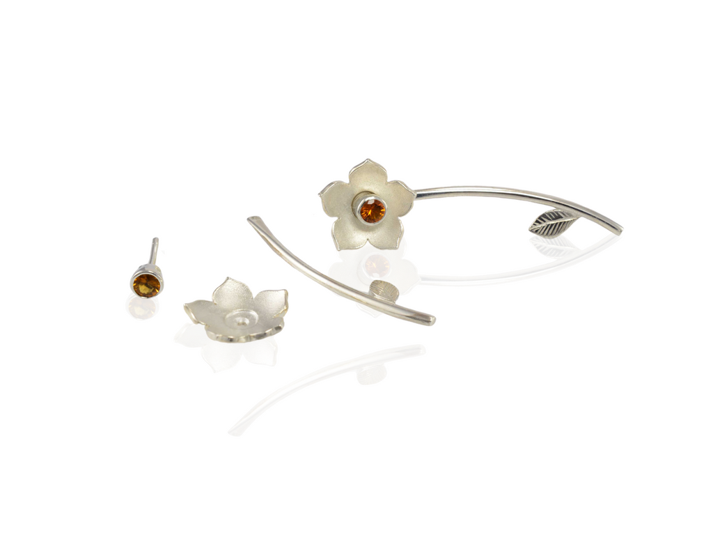 interchangeable gemstone flower studs