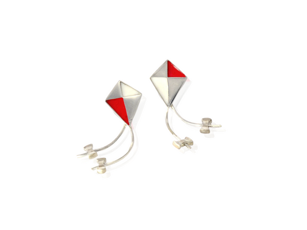 kite earrings in silver with red and white resin