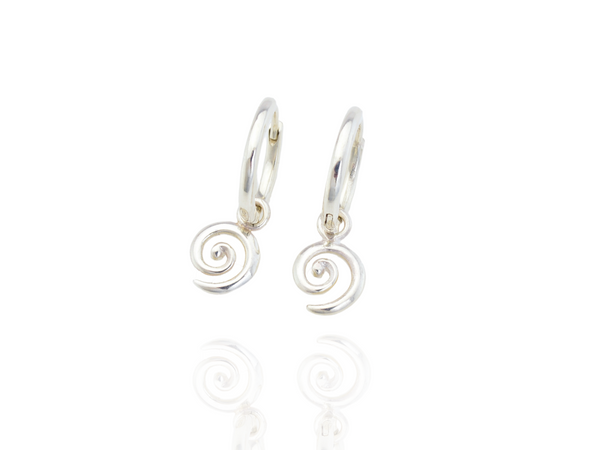 koru hoop earrings in silver