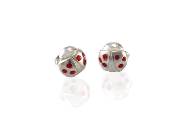 ladybird stud earrings silver with red dots