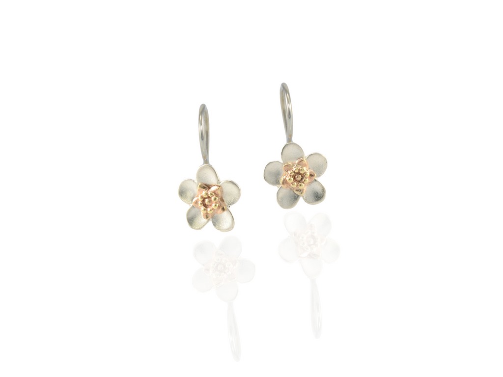 manuka flower drop earrings in silver and gold
