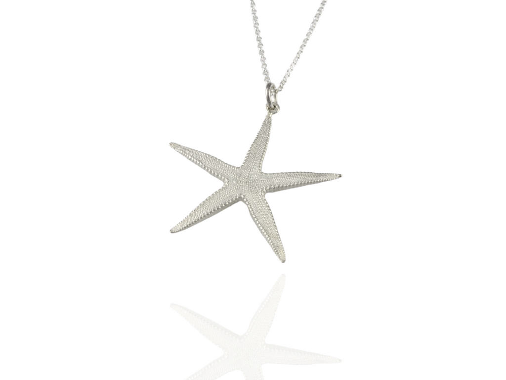 large starfish pendant in silver