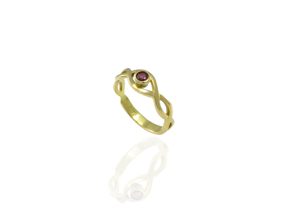 ruby ring in gold celtic design