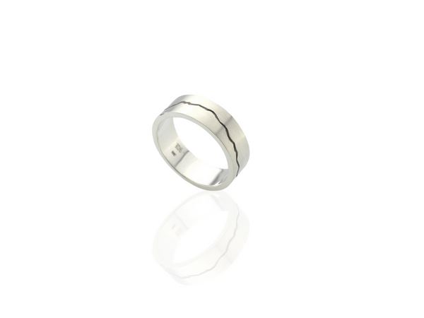 silver mountain range engraved ring