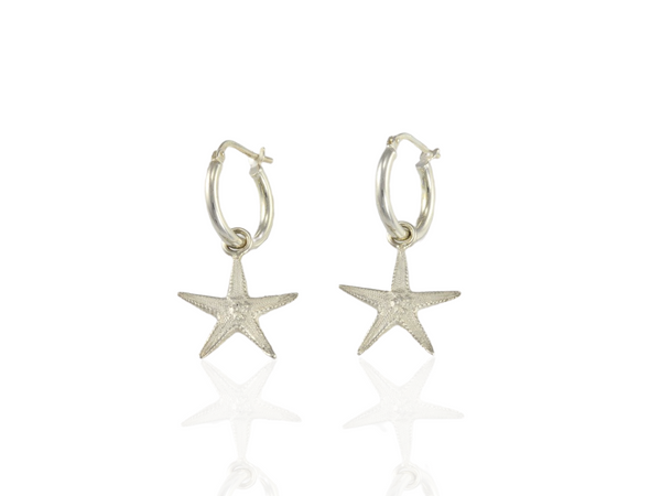 starfish earrings on silver hoops