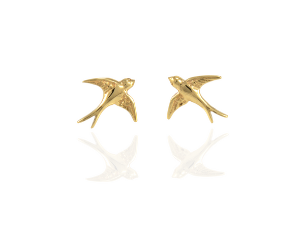 swallow bird studs earrings  in gold