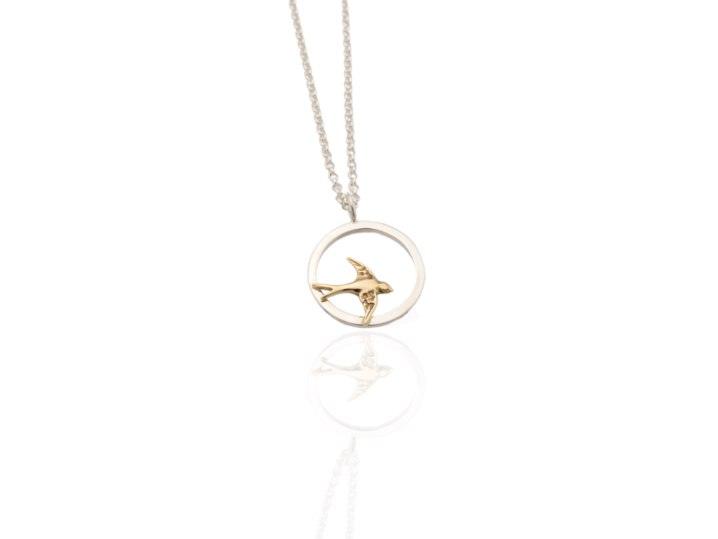 Swallow bird pendant silver and gold