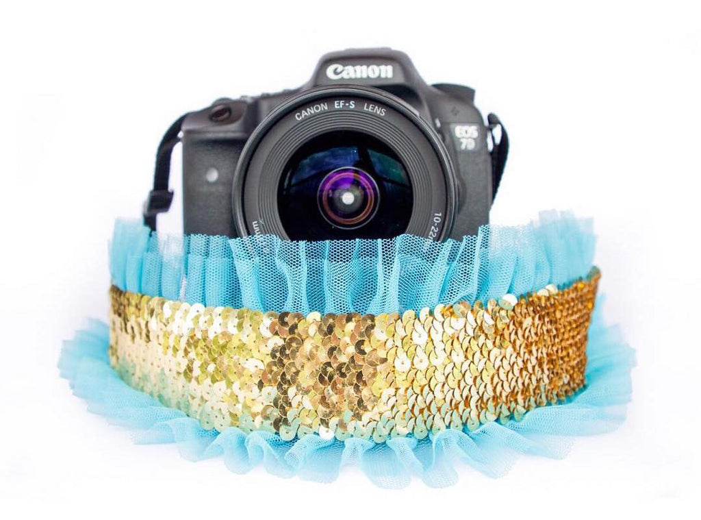Sequin Camera Strap Gold with Turquoise Tulle