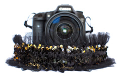 Sequin Camera Strap Color Changing Gold to Black with Black Tulle