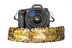 Sequin Camera Strap Color Changing Gold to Black Camera Strap