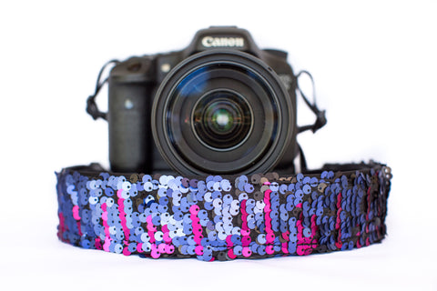 Sequin Camera Strap Color Changing Purple to Black Camera Strap