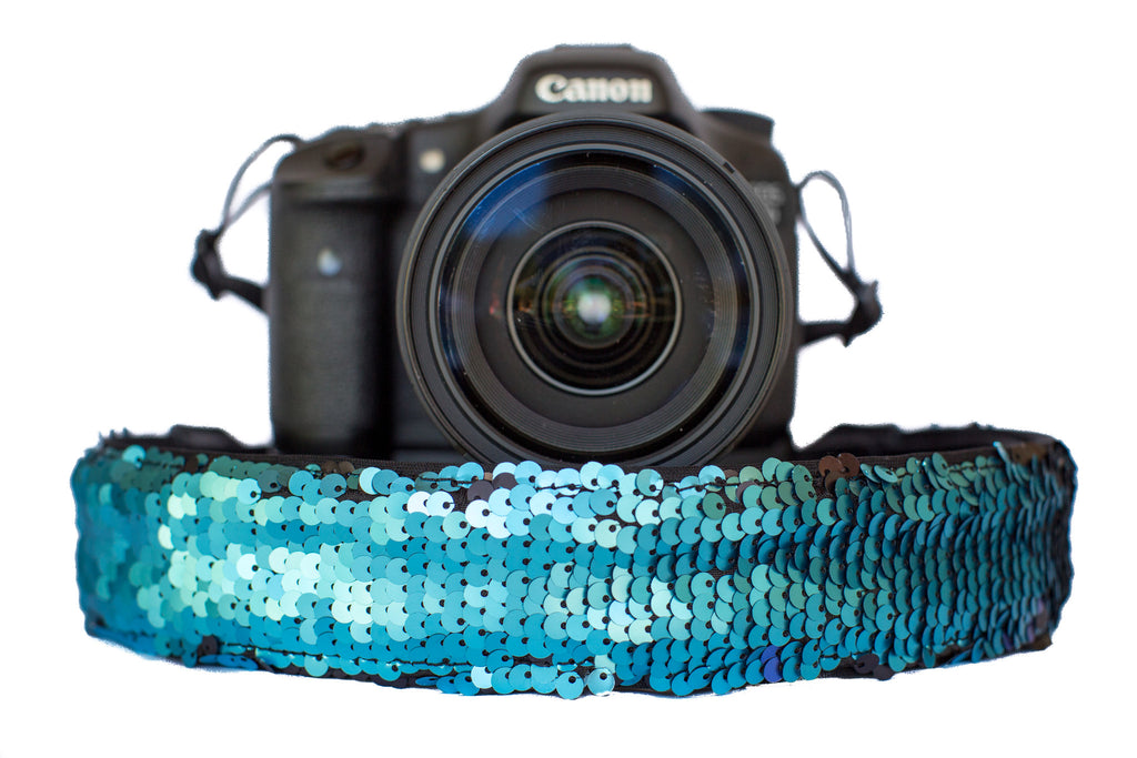Sequin Camera Strap Color Changing Teal to Black