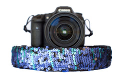 Sequin Camera Strap Color Changing Mermaid Blue to Black