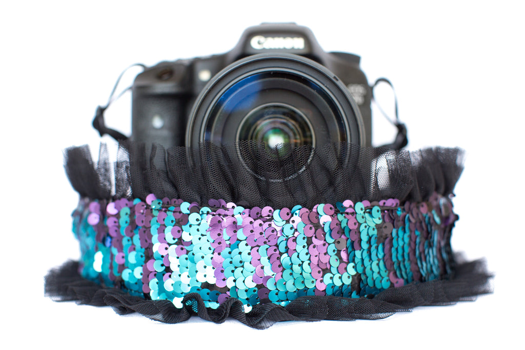 Sequin Camera Strap Color Changing Mermaid Teal to Black with Tulle