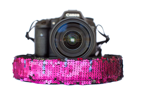 Sequin Camera Strap Color Changing Fuchsia to Black