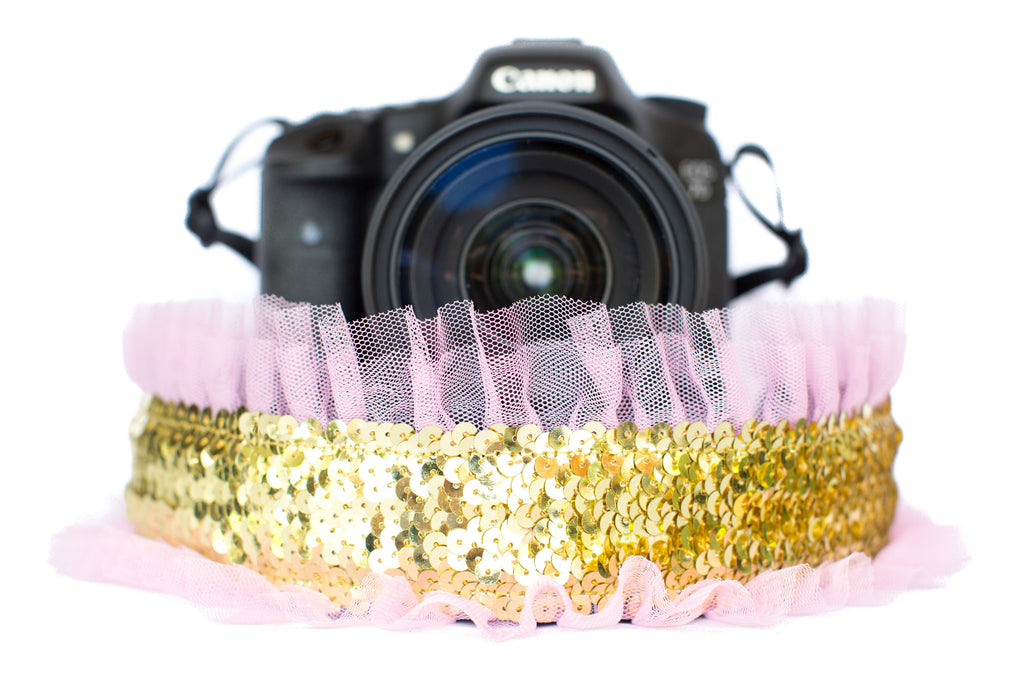 Sequin Camera Strap Gold Sequin with Pink Tulle