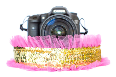 Sequin Camera Strap Gold Sequin with Bright Pink Tulle