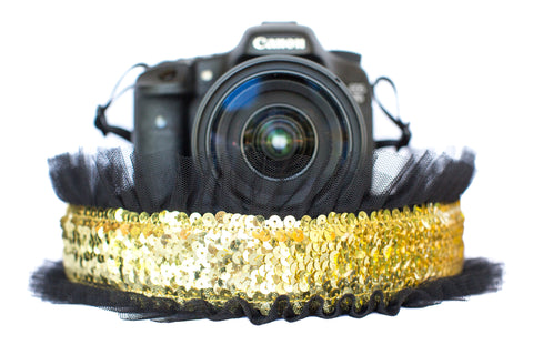 Sequin Camera Strap Gold Sequin with Black Tulle
