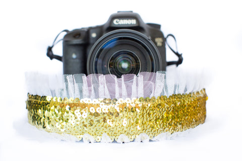 Sequin Camera Strap Gold Sequin with White Tulle