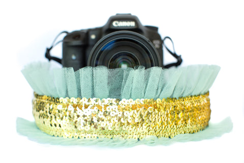 Sequin Camera Strap Gold Sequin with Mint Tulle