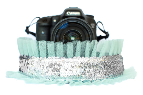 Sequin Camera Strap Silver Sequin with Mint Tulle