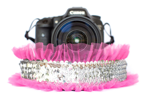 Sequin Camera Strap Silver Sequin with Bright Pink Tulle