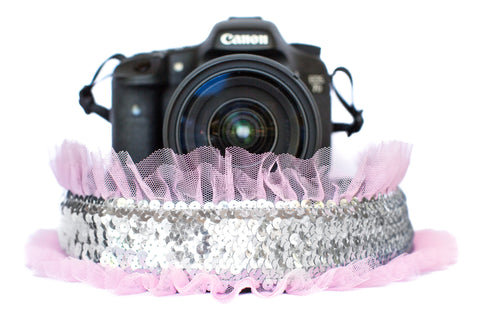 Sequin Camera Strap Silver Sequin with Light Pink Tulle