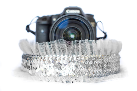 Sequin Camera Strap Silver Sequin with Grey Tulle