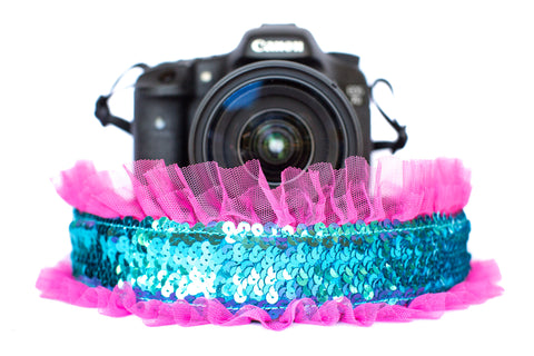 Sequin Camera Strap Mermaid Sequin with Bright Pink Tulle