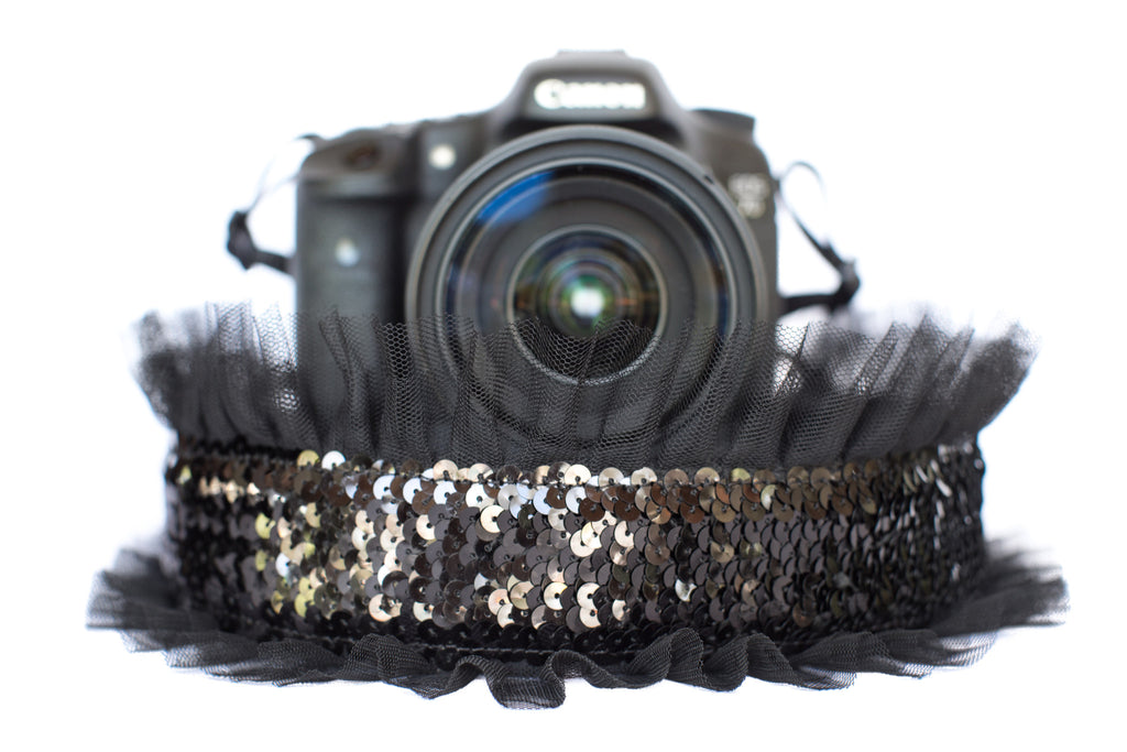 Sequin Camera Strap Black Sequin with Black Tulle