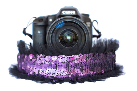Sequin Camera Strap Purple Sequin with Black Tulle
