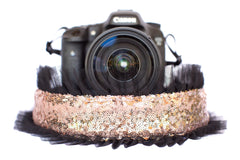 Sequin Camera Strap Rose Gold Sequin with Black Tulle