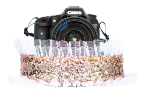 Sequin Camera Strap Rose Gold Sequin with White Tulle
