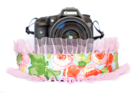 Floral Camera Strap with Light Pink Tulle