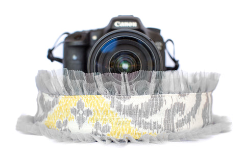 Paisley Camera Strap with Grey Tulle