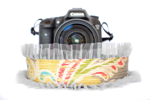 Paisley Camera Strap Multicolor with Grey Tulle