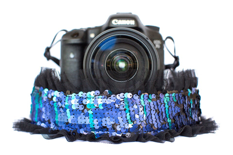 Sequin Camera Strap Color Changing Mermaid Blue to Black with Black Tulle
