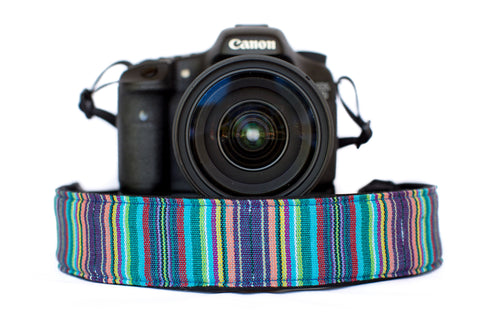 Bohemian Camera Strap Teal Stripe