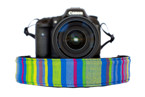 Bohemian Camera Strap Green and Purple Stripe