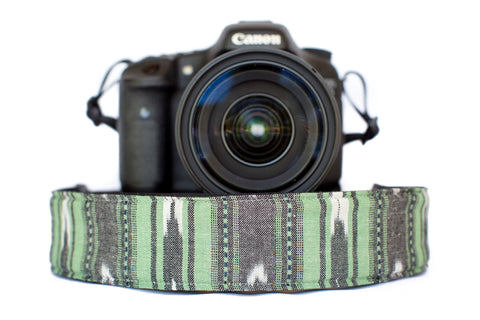 Bohemian Camera Strap Mint Green Serape