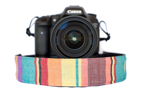 Bohemian Camera Strap Watercolor Brown Stripe