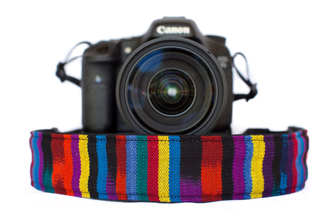 Bohemian Camera Strap Multicolor Serape Stripe