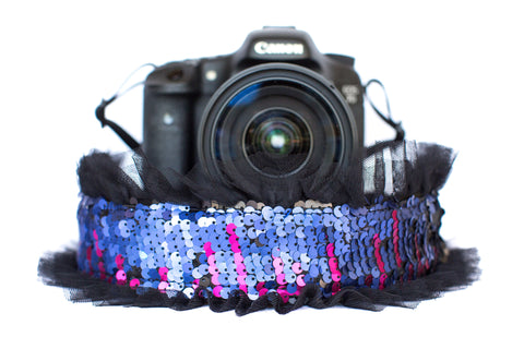 Sequin Camera Strap Color Changing Purple to Black with Black Tulle