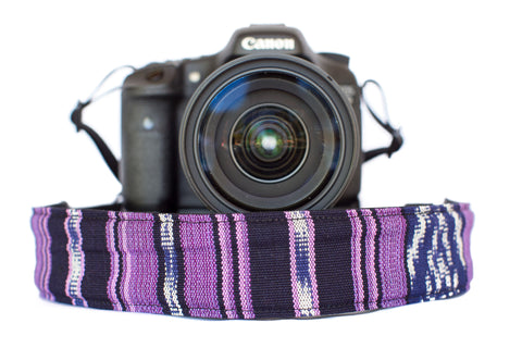 Bohemian Camera Strap Purple Serape Stripe