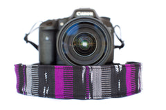 Bohemian Camera Strap Black and Purple Serape