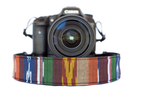 Bohemian Camera Strap Brown Multicolored Serape