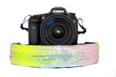 Sequin Camera Strap Iridescent Pink and Yellow